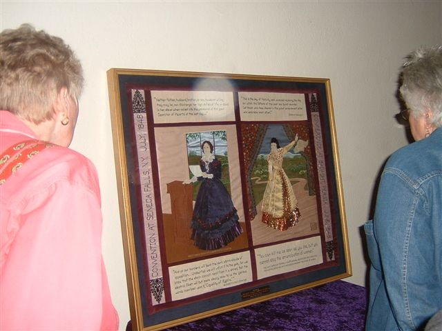 Tapestry reflecting 1848 Conventions in Seneca Falls and Badasht with Elizabeth Cady Stanton and Tahirih